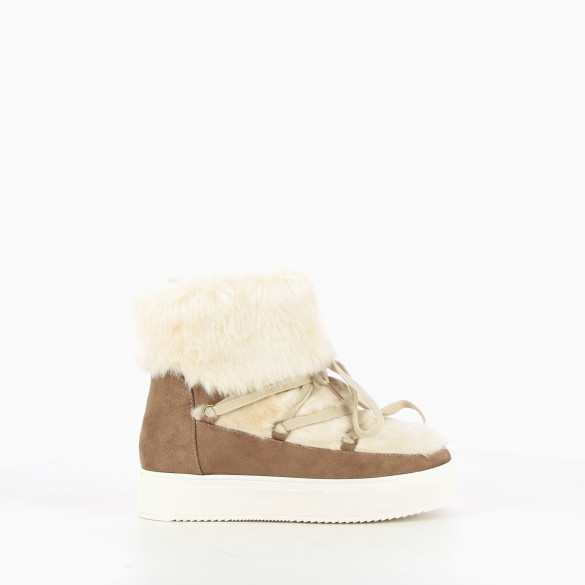 Apricot faux fur trainers