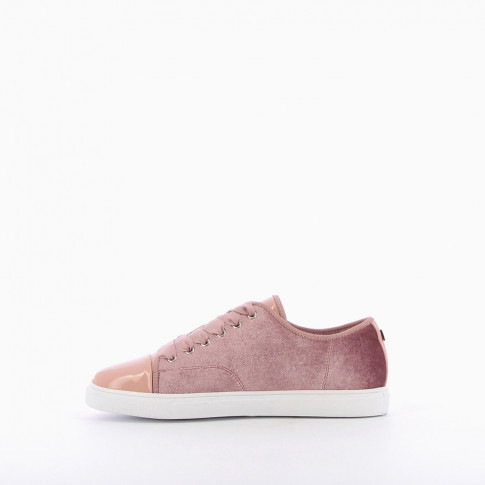 Velvet-look dusty pink trainers with ribbon laces