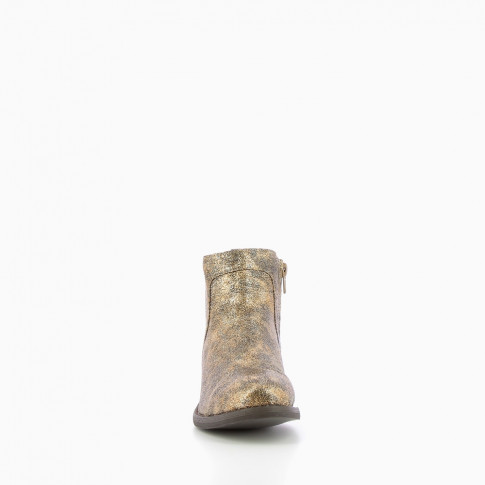 Gold ankle boots with a crackled sheen