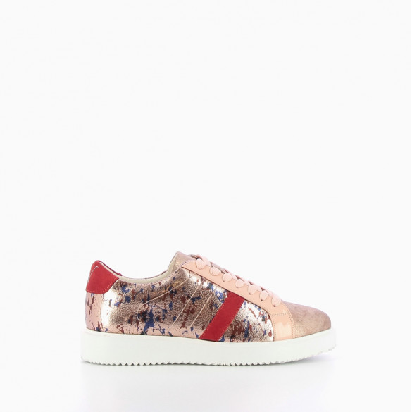 Arty print pink platform trainers