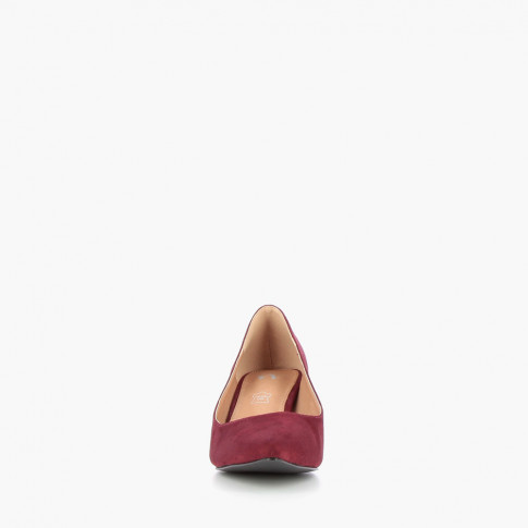 Burgundy suede effect pumps