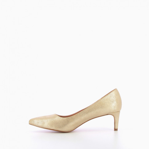 Gold suede effect pumps