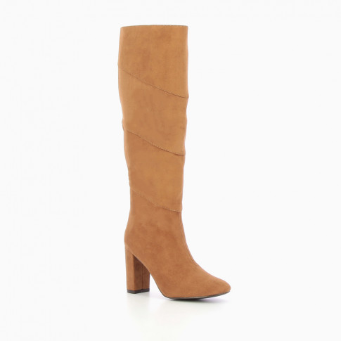 Camel suede effect heeled boots