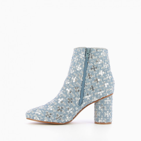 Ankle boots in pale blue fabric adorned with sequins