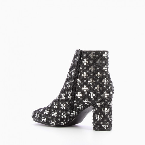 Black ankle boots fabric adorned with sequins