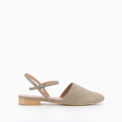Khaki flat Mary Jane slingbacks