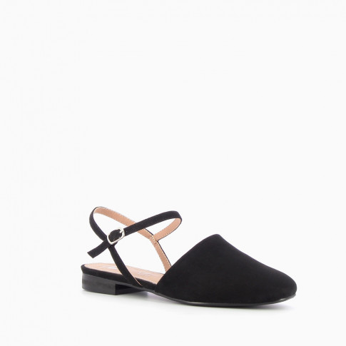 Black flat Mary Jane slingbacks