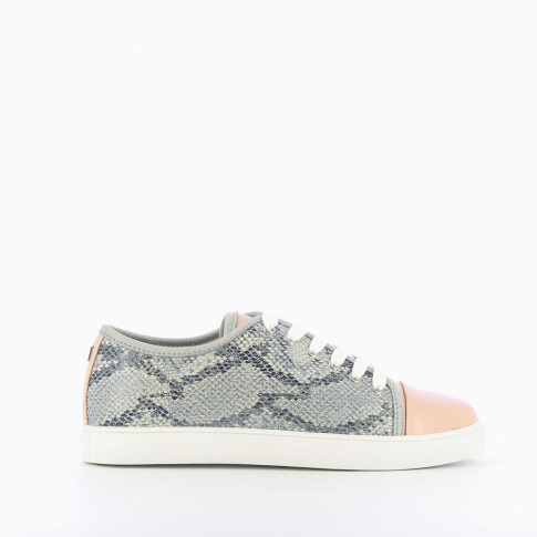 Pink snakeskin-print trainers