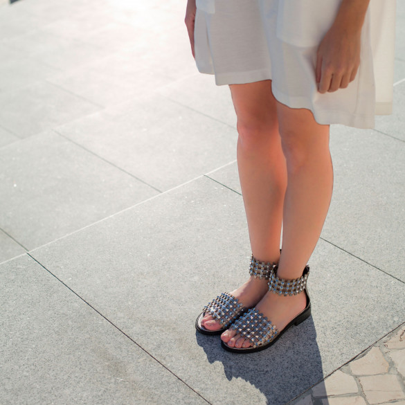 Silver checked sandals with studs