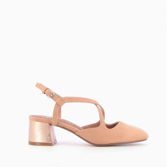 Old rose heeled Mary Janes with crossover straps
