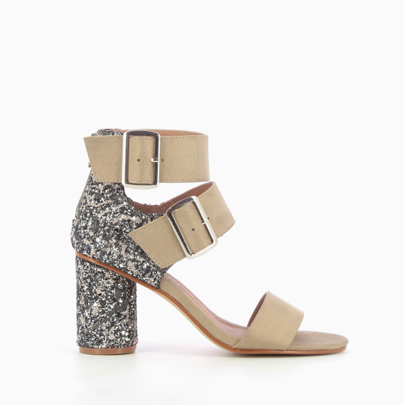 Beige suede-effect heeled sandals with sequinned heel