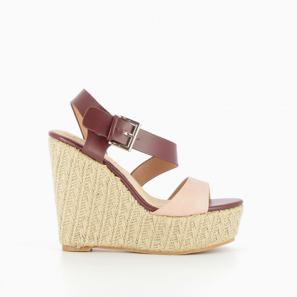 Burgundy and pink rope soled wedges
