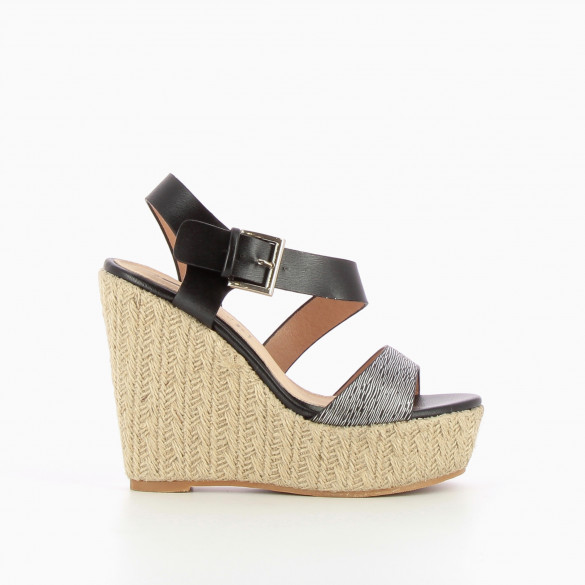 Black and silver rope soled wedges