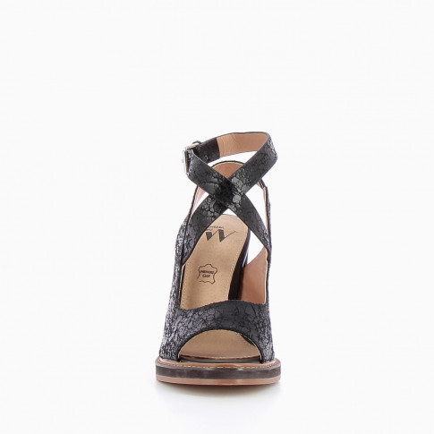 Black sandals with crackle effect