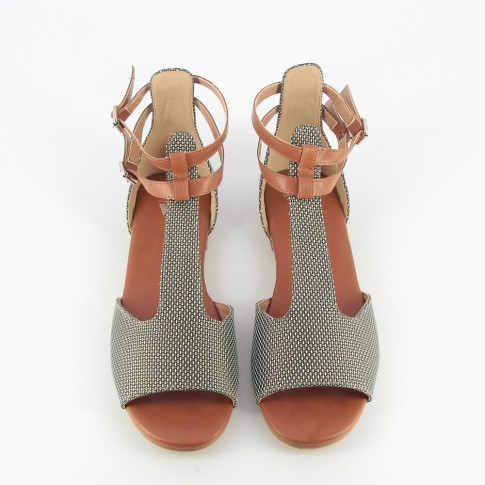 Woven green and brown sandals