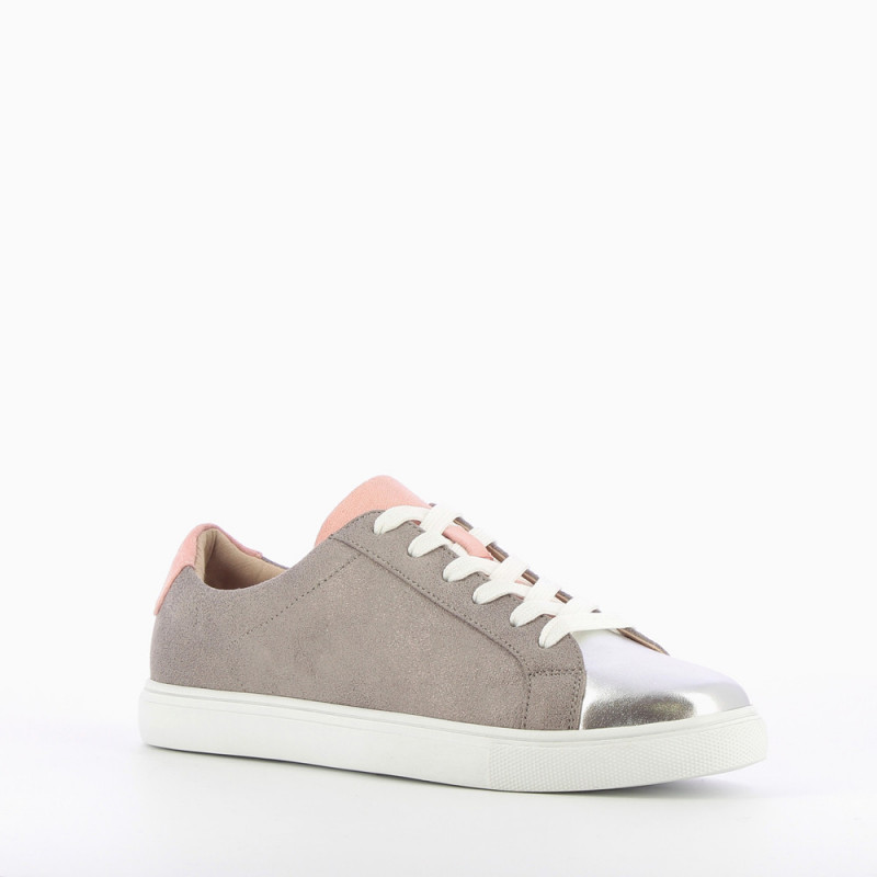 827fe550a4d1 Gray and pink lace-up sneakers - Vanessa Wu Store