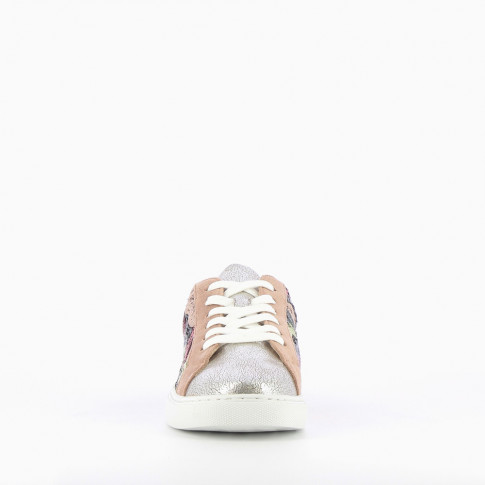 Silver sneakers with multicoloured sequins