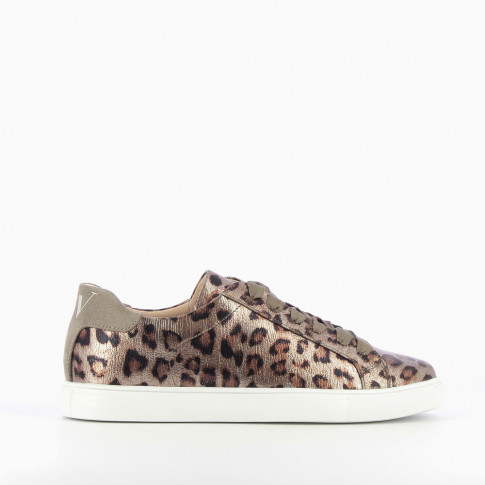 Bronze sneakers with leopard-print