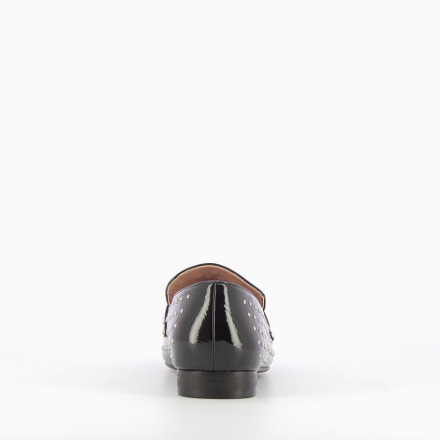 Black patent leather bit-loafers with studs