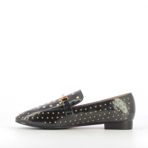 Forest green patent leather bit-loafers with studs