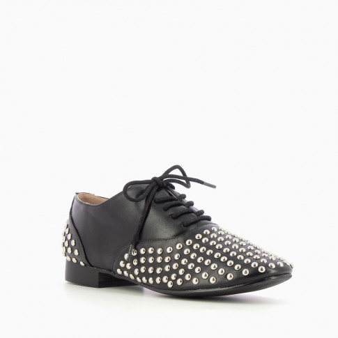 Black Oxfords with studded yokes