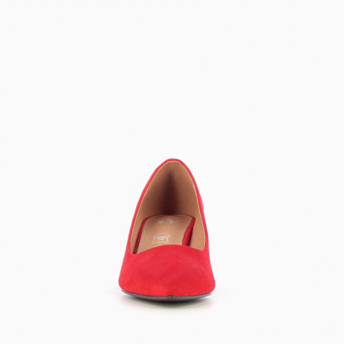 Red suede effect pumps
