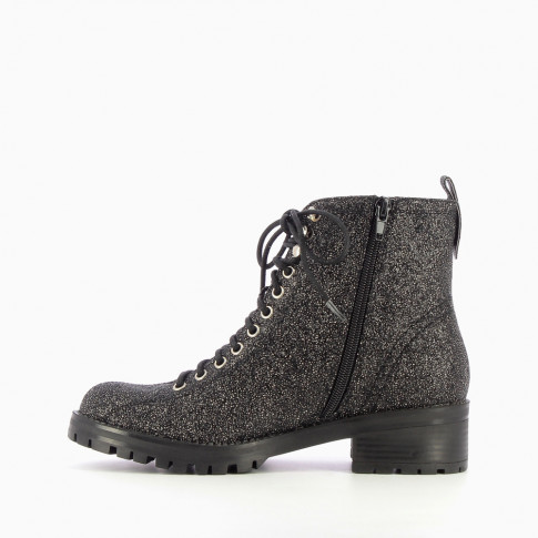 Bottines rangers noires à paillettes
