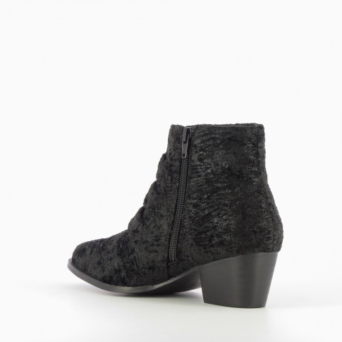 Black ankle boots with western buckle