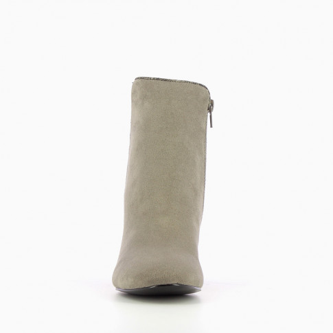 Gray bi-material ankle boots