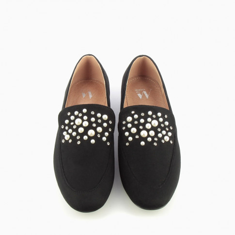 Black imitation suede loafers with pearls and rhinestones