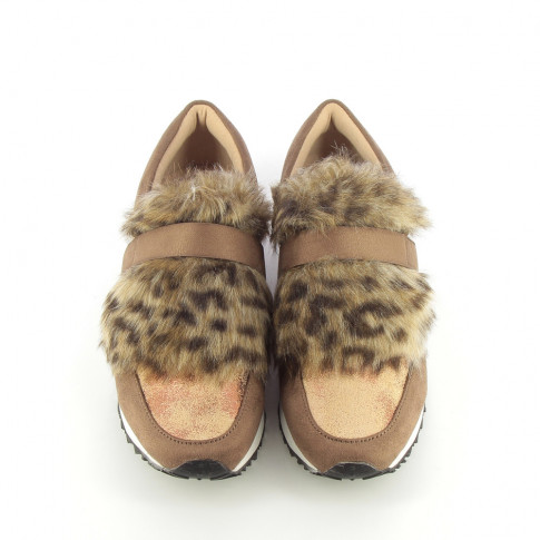 Coffee sneakers with gold glitter and faux fur