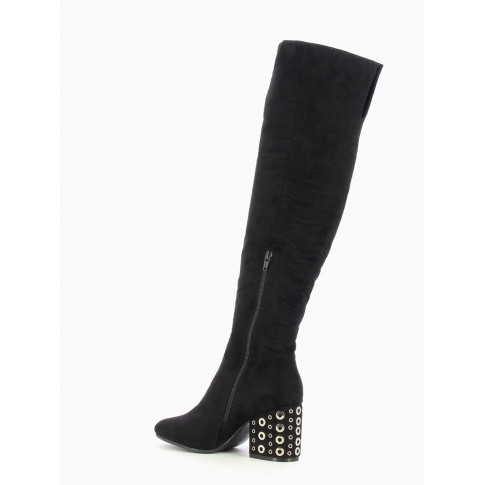 Black thigh-highs with heel decorated with eyelets