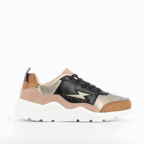 Nude and black light sneakers with lightning cutout