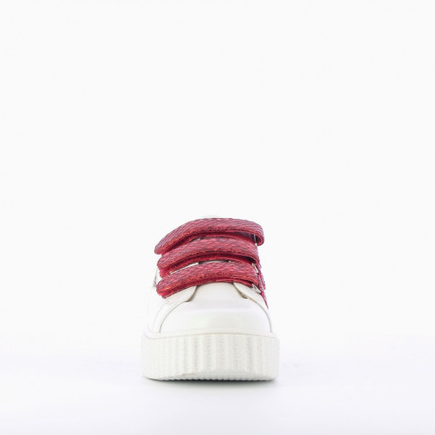 White sneakers with red snakeskin effet velcro