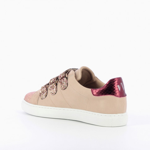 Pink sneakers with glittery velcro