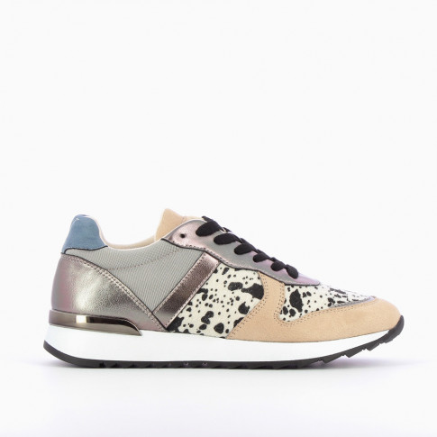 Beige and charcoal gray sneakers with cow-print yoke