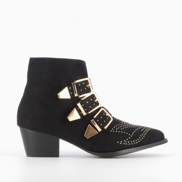 Black suedette ankle boots with gold buckles