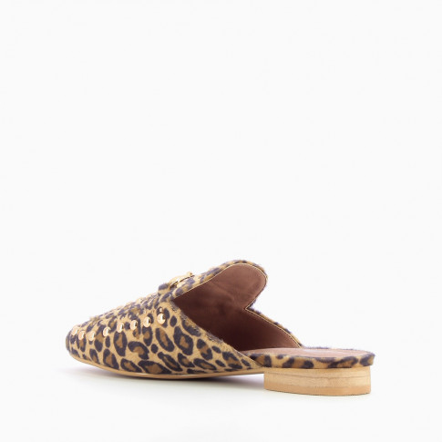 Leopard slip-on loafer with bit and studs