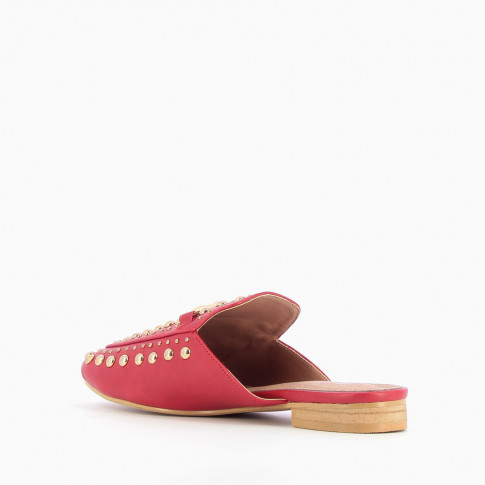 Red slip-on loafer with bit and studs