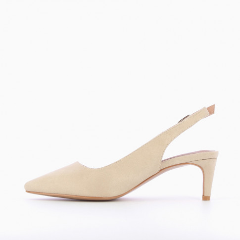 Beige suedette sling back pumps