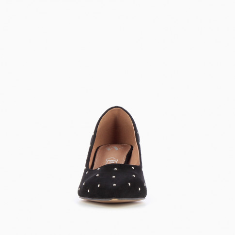 Black suedette studded pumps