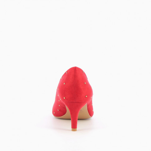 Red suedette studded pumps