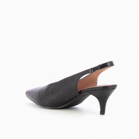 Black textured sling back pumps