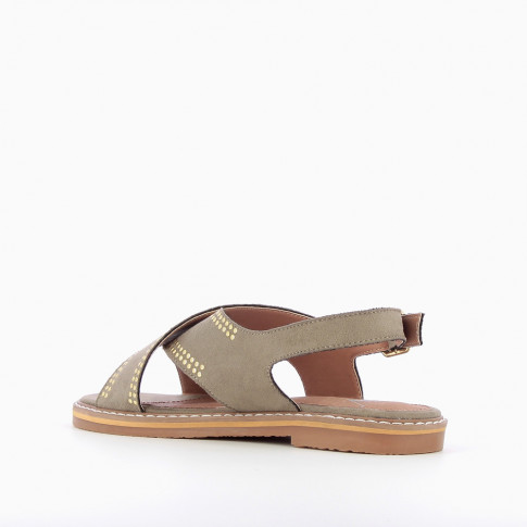 Khaki green cross-strap riveted sandals