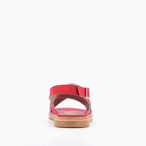 Red cross-strap riveted sandals