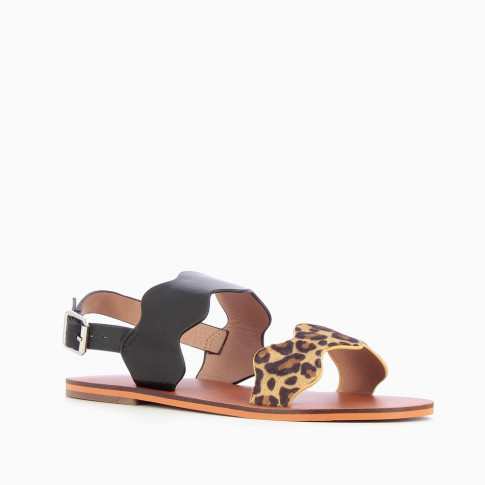 Black and leopard scalloped sandals