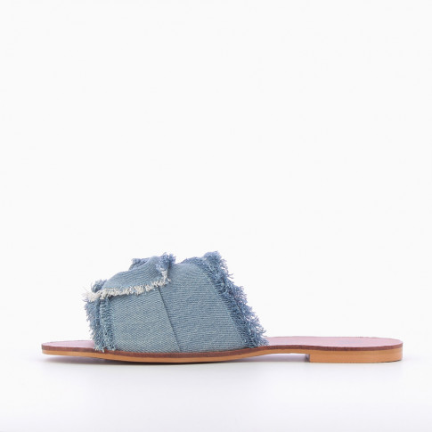 Blue jean mules with bow