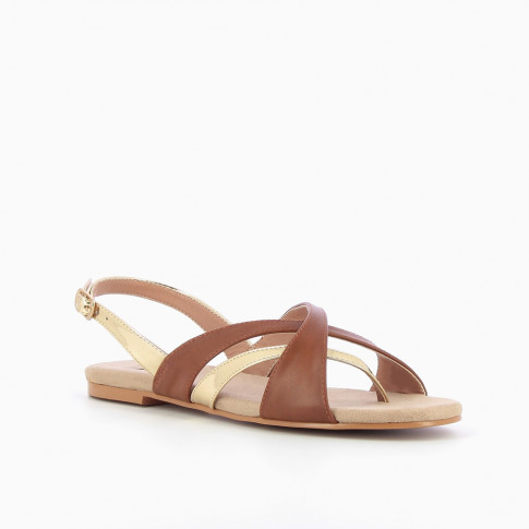 Camel and gold cross-strap sandals