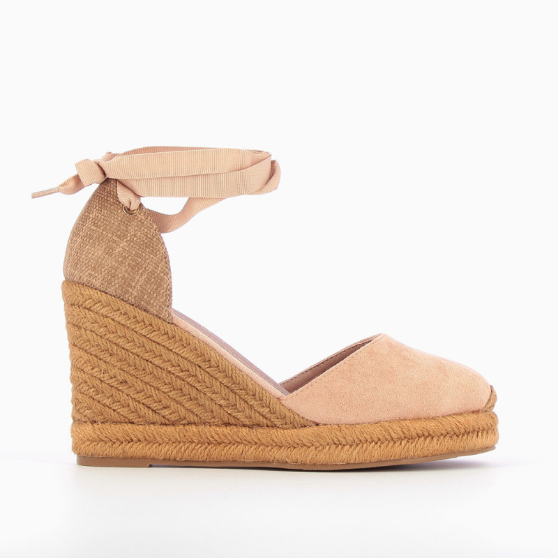 3100310bb86 Pink espadrille wedges with tie around ankle - Vanessa Wu Store