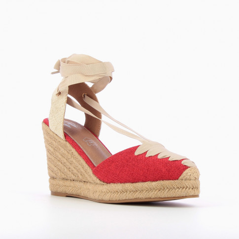 Red lace-up espadrille wedges